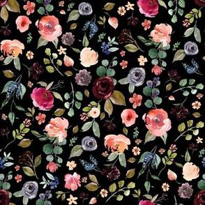 "8"" Charlotte Free Falling Florals - Black"