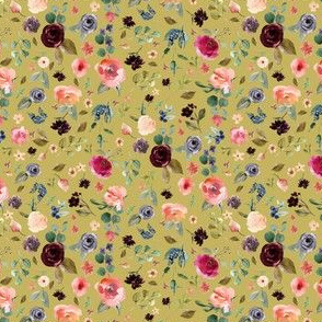 "4"" Charlotte Free Falling Florals - Burnt Gold"