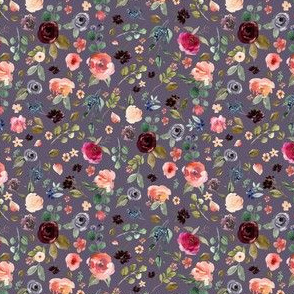 "4"" Charlotte Free Falling Florals - Grape"
