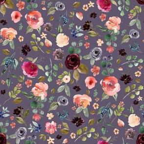 "8"" Charlotte Free Falling Florals - Grape"