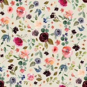 "8"" Charlotte Free Falling Florals - Latte"