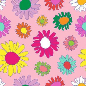 60's Daisy Crazy in Mod Pink
