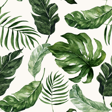 """8"""" Tropical Rain Forest Leaves // Bianca White fabric by hipkiddesigns on Spoonflower - custom fabric"""