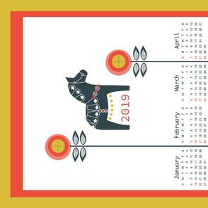 Dala-Horse-Tea-Towel-2019-Calendar