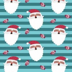 Jolly Santa w/ Christmas Candy – Teal & Blue Stripes – Kids Xmas Fabric