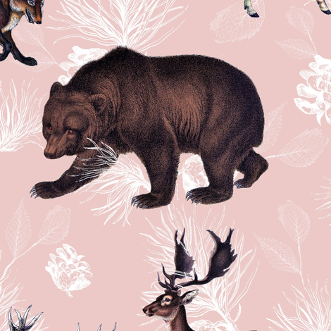 "21"" Chateau Wildlife - Blush fabric by shopcabin on Spoonflower - custom fabric"