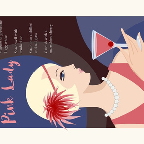 Pink Lady  - Cocktail recipe tea towel