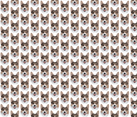 White Corgi fabric by foxypaws on Spoonflower - custom fabric