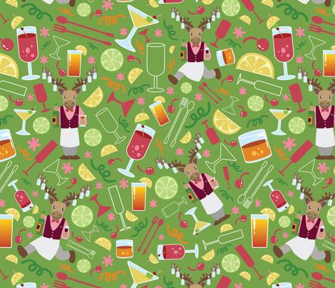Cariboutender's Bar Lime Green-01 fabric by ksharpstudio on Spoonflower - custom fabric