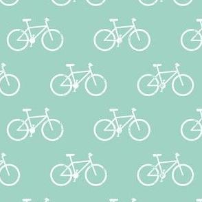bicycle - bikes - white on dark aqua
