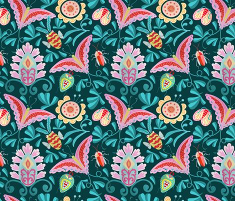 Boho Exotica Bugs  -Dark fabric by denise_ortakales on Spoonflower - custom fabric