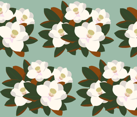 magnolia grouping-vintage green fabric by kae50 on Spoonflower - custom fabric