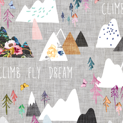 Mountain Dreams (grey) MED fabric by nouveau_bohemian on Spoonflower - custom fabric