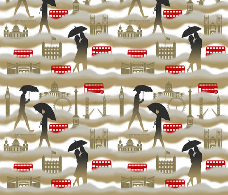 Red Black Tan London Dreaming fabric by ms__contrary on Spoonflower - custom fabric