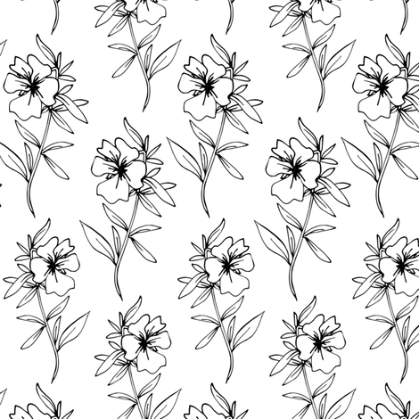 Dahlias Black And White  fabric by mariamsol on Spoonflower - custom fabric