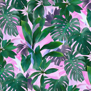 Bright Tropical Emerald Jungle on pink - custom color edit