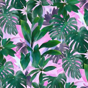 Bright Tropical Emerald Jungle on pink - custom color edit