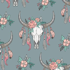 Boho Longhorn Cow Skull with Feathers and Flowers Peach on Slate Grey
