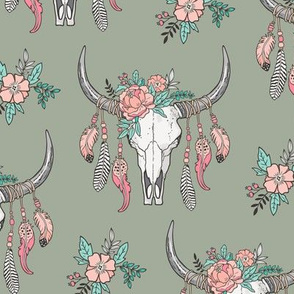 Boho Longhorn Cow Skull with Feathers and Flowers Peach on Desert Sage Green