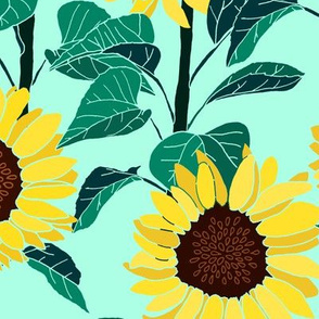 Sunny Sunflowers - Mint - Large