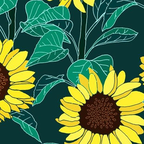 Sunny Sunflowers - Emerald - Large