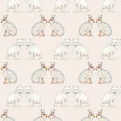 Arctic animals on pale pink