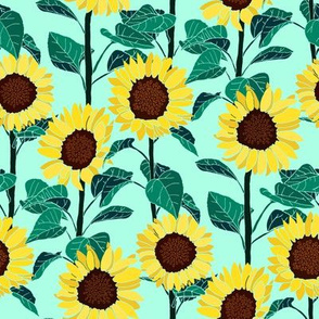 Sunny Sunflowers - Mint - Small