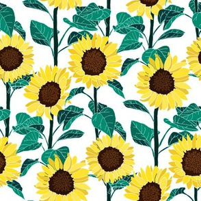 Sunny Sunflowers - White - Small