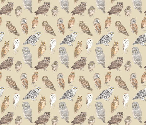 Owls on beige fabric by daniwilliams on Spoonflower - custom fabric