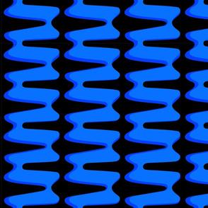Groovy 70s  double swirl 3D - blue