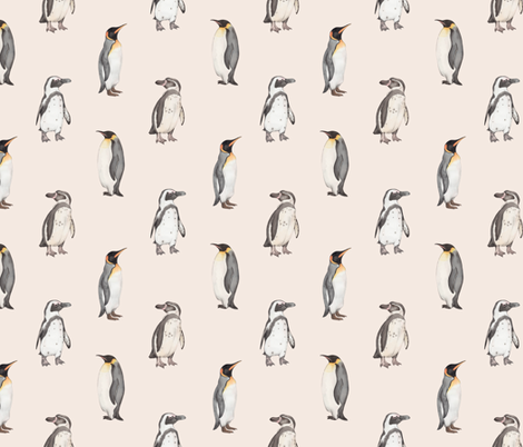 Penguin pattern on pink fabric by daniwilliams on Spoonflower - custom fabric