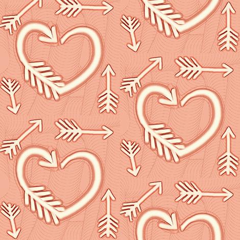 Shot Through the Heart / Arrows  -soft terracotta / peach fabric by franbail on Spoonflower - custom fabric