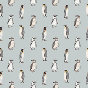 Penguin pattern on blue