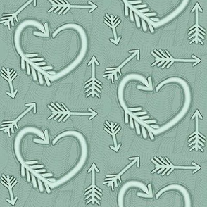 Shot Through the Heart / Arrows  -Sage green/moss