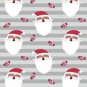 Jolly Santa w/ Christmas Candy – Gray Stripes – Kids Xmas Fabric