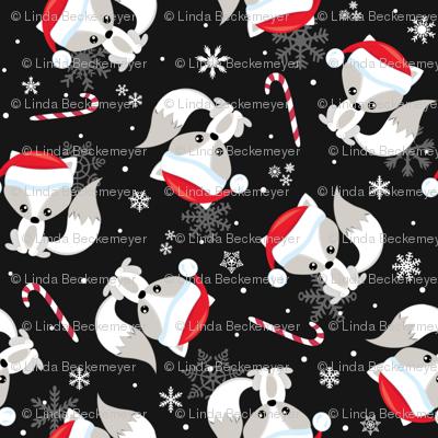 Santa Fox – Christmas Red Santa Hat, Candy Canes + Snowflakes - Black