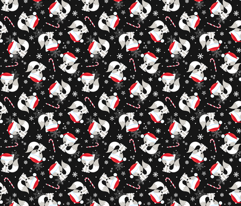 Santa Fox – Christmas Red Santa Hat, Candy Canes + Snowflakes - Black fabric by gingerlous on Spoonflower - custom fabric