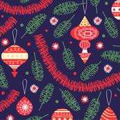 1960s Christmas tinsel in dark