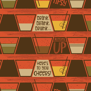 Retro Bar Cart ~ Lowball drinks ~ Fallen leaves