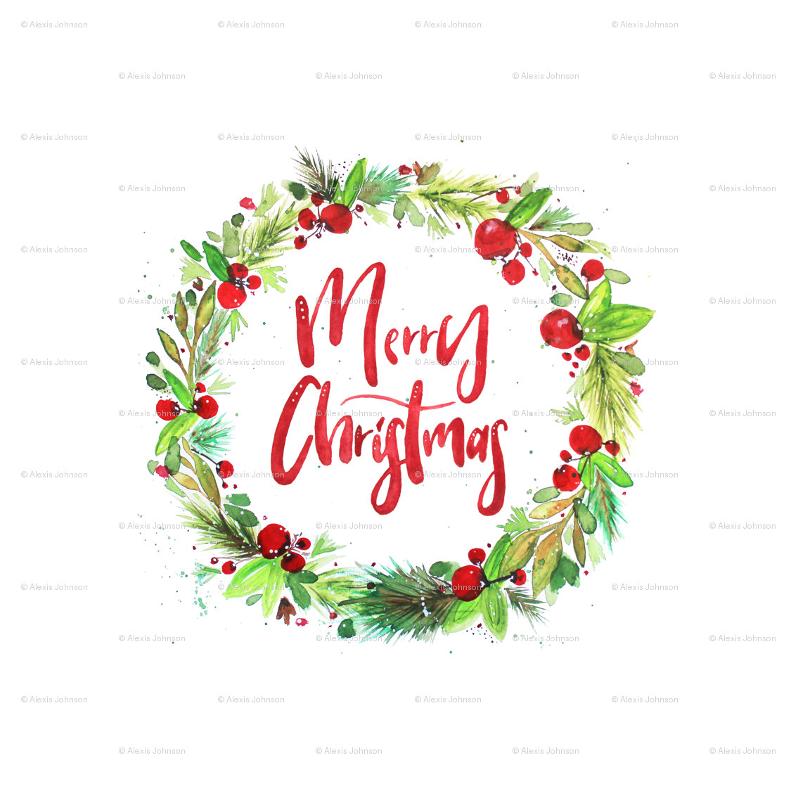 Watercolor Christmas Wreath Png.Watercolor Merry Christmas Wreath Giftwrap Alexis Johnson
