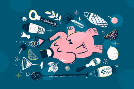Pink elephant fabric by kostolom3000 on Spoonflower - custom fabric