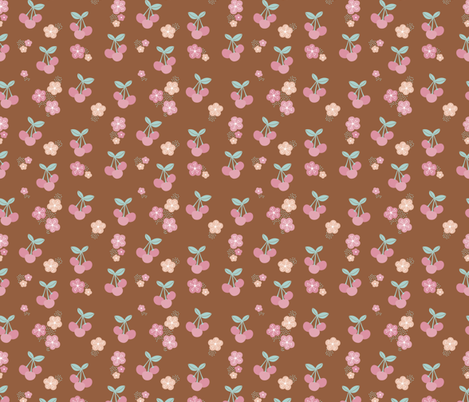 Cherry blossom colorful fruit garden cherries and flowers copper brown mint pink girls summer spring fabric by littlesmilemakers on Spoonflower - custom fabric
