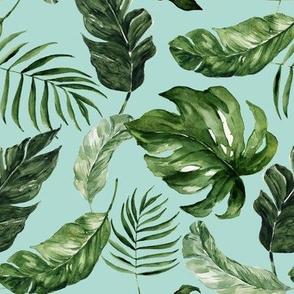 "8"" Tropical Rain Forest Leaves // Sinbad Blue"