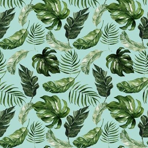 "4"" Tropical Rain Forest Leaves // Sinbad Blue"