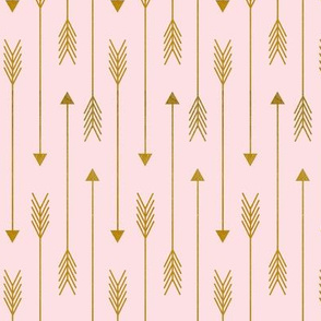 Skinny Arrows - Gold Arrows on Shell Pink, Ginger Lous