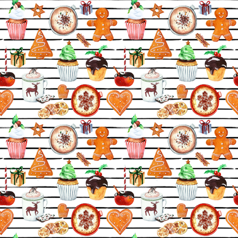 "4"" Christmas Spice // Black and White Stripes fabric by hipkiddesigns on Spoonflower - custom fabric"