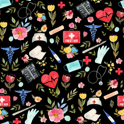 """8"""" Love to Care Medical - Black fabric by rebelmod on Spoonflower - custom fabric"""