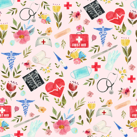 """8"""" Love to Care Medical - Pink fabric by rebelmod on Spoonflower - custom fabric"""