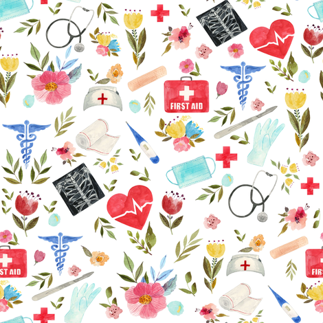 "8"" Love to Care Medical - White fabric by rebelmod on Spoonflower - custom fabric"