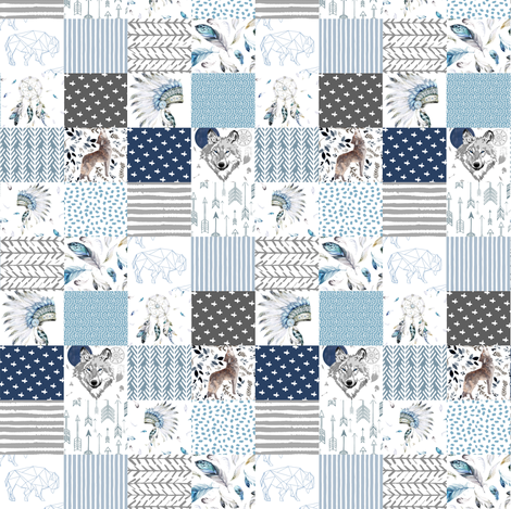 "4"" Boys Boho Cheater Quilt Wholecloth fabric by shopcabin on Spoonflower - custom fabric"